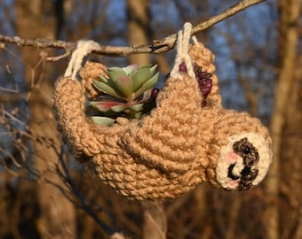 Hanging Sloth Planter/Crochet Sloth Plant Cover/Mini Succulent Hanger/Home Decor/Dorm Decor/Made To Order