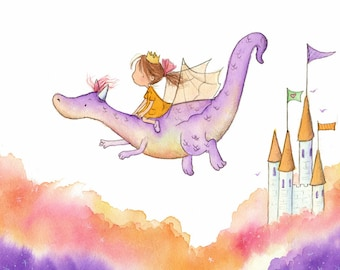 The Princess and the Dragon - Brunette Girl on Purple Dragon - Art Print - Children