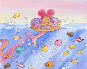 Afro Art Print Mermaid Art Aqua Nursery Art Mixed Race Children/'s Mermaid Art Art for Kids bedroom bi-racial Mermaid decor
