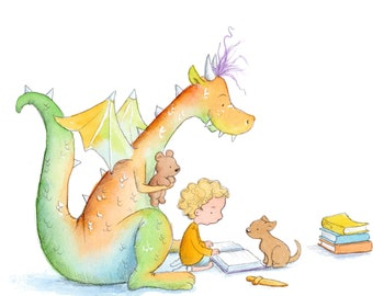Curly Blond Boy Reading to Red and Green Dragon - Art Print - Children
