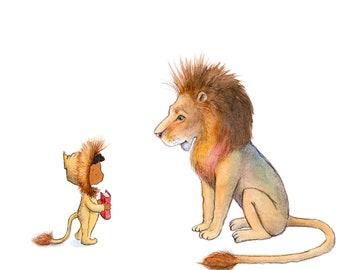 Lion Story - Boy and Lion - Art Print