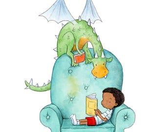 Dragon Story - African American Boy Reading to Green Dragon - Art Print - Children