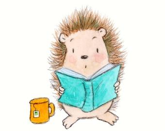 Oh My - Hedgehog Reading a Book - Art Print