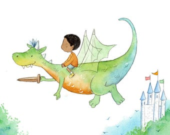 African American Boy Riding Green and Orange Dragon - Art Print - Children