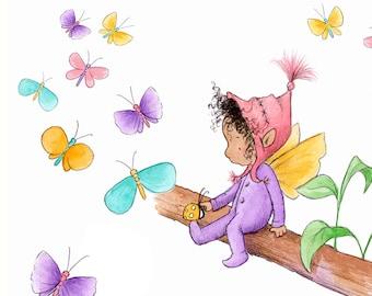 Maie Littletwig Finds a Ladybug - Fairy Art - Art Print