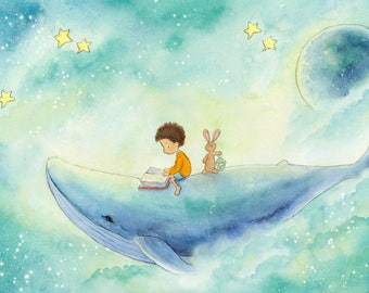 A Story About a Whale - Curly Brown Hair Boy Riding Whale - Art Print