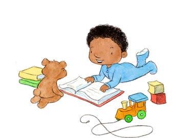Baby's Books- Toddler Baby Boy Reading to Teddy Bear  - Art Print - Nursery