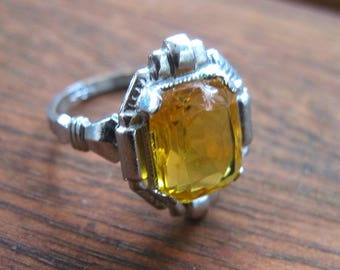 REDUCED - Has Chip in Stone - Vintage Art Deco Ring - Uncas - Citrine Color Glass - Silver Tone - 1930s