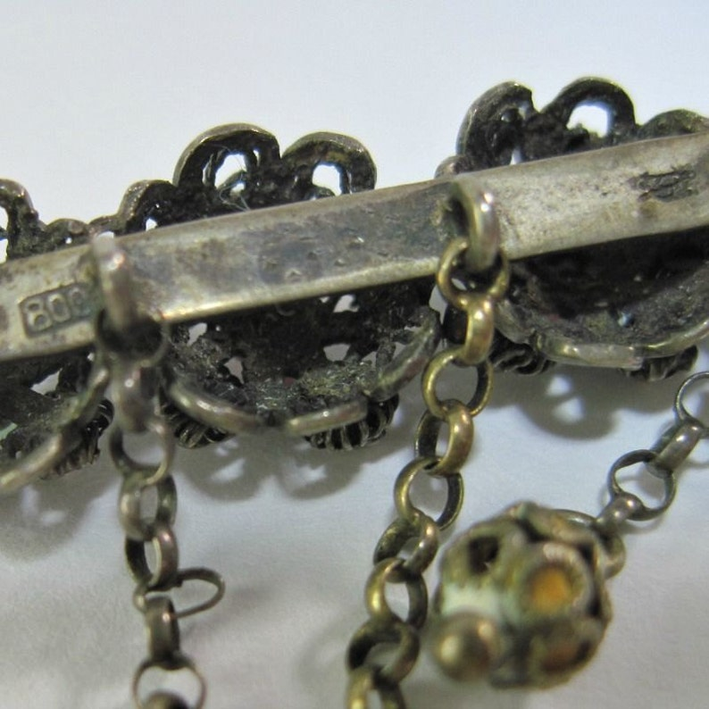 Pink Green Paste Stones Antique Victorian 800 Silver Filigree Brooch Cannetille Dainty 19th Century Dangles