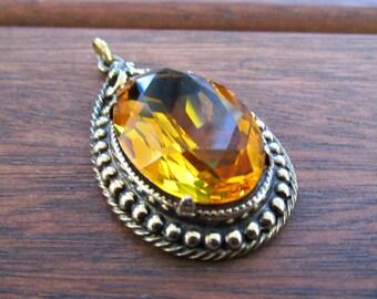 Large Vintage Danecraft Sterling Silver Pendant - Citrine Color Glass Stone - Vermeil - 10.4 Grams