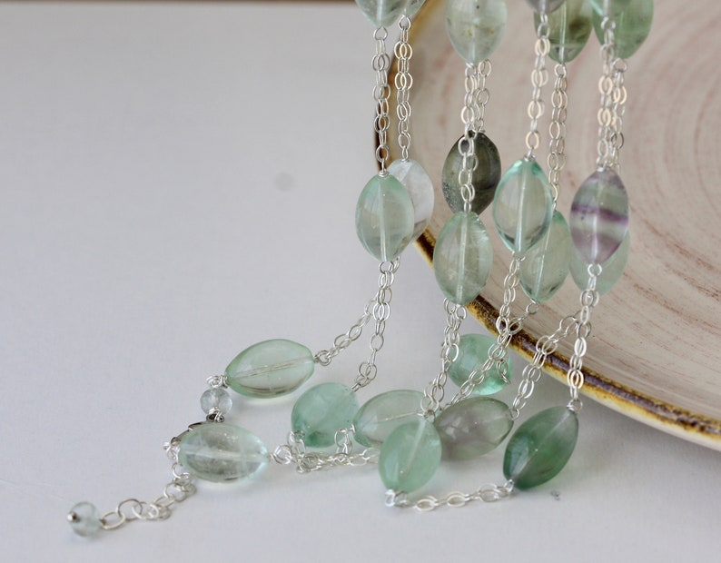 Green Fluorite Long Necklace Bijoux Silver Necklace Summer Style Elegant Gift for Summer Weddings Birthday Gift for Wife for Daughter