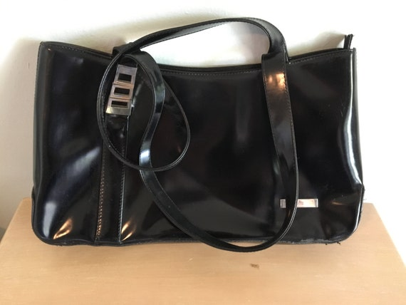 44f93971505 Vintage Gucci Purse Black Patent Leather Tote   Etsy