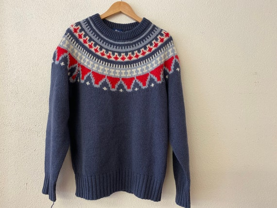 Nordic Sweater - Blue Red White and Gray XL