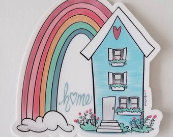 Blue House with Rainbow Vinyl Sticker for Laptops Planners Water Bottles, Home with Muted Pastel Colors