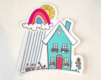 Blue House with Sunshine and Rainbow Vinyl Sticker, Sticker for laptops, water bottles, journals, and more