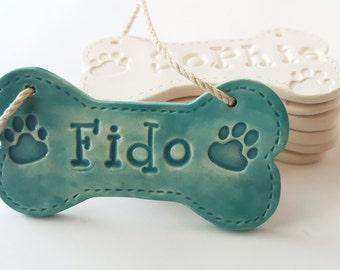 Personalized Ceramic Dog Bone Christmas Ornament, Custom Clay Dog Bone, Custom Pet Ornament, Gift for Dog Lover