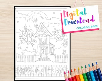 Happy Halloween Haunted House Design Printable Coloring page, Instant Download, Black and White Printable for Coloring