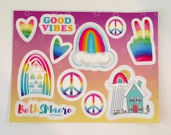 Rainbow Theme Vinyl Sticker Sheet, Sticker for laptops, water bottles, journals, and more