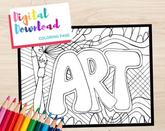 Printable Coloring Page with word Art and Abstract Designs, Doodling Coloring page Instant Download, Black and White Printable for Coloring