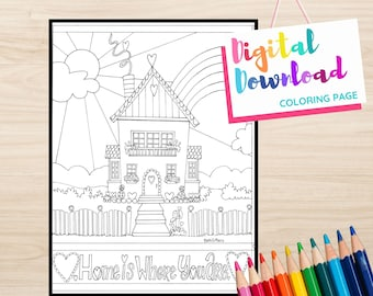 Heart House Coloring Page Digital Download, Home is Where You Are, House with Hearts designs for Coloring, Printable download