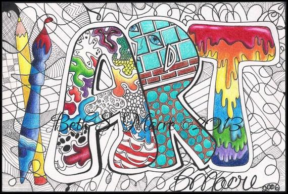 Color Digital Art Print Word Art Design Digital Download Pen And Ink And Colored Pencil Doodle Digital Download Word Art Zentangle