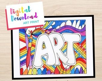 Rainbow Color Digital Art Print Word Art Design, Digital Download, Art Class Sign, Craft Room Sign, Rainbow Art, Printable Word Art