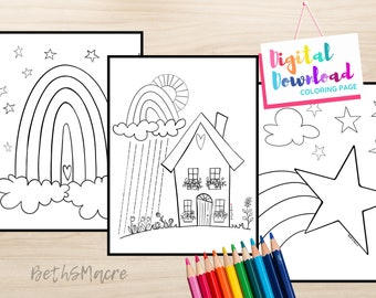 Sunshine and Rainbow House Coloring Page Set of 3 Digital Download Printable Coloring Pages