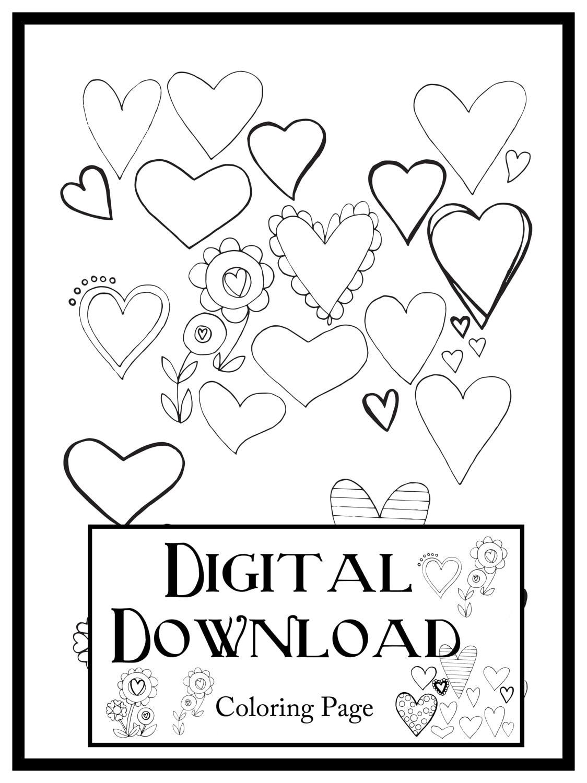 Druckbare Zeichnung Herzen Digitaler Download Erwachsenen | Etsy