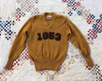 8650b6d84bf 1953 Mustard Wool Knit Sweater Trojan Letterman Darned Repaired