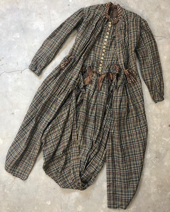Late 1800s Victorian Plaid Wool Bodice Jacket Top