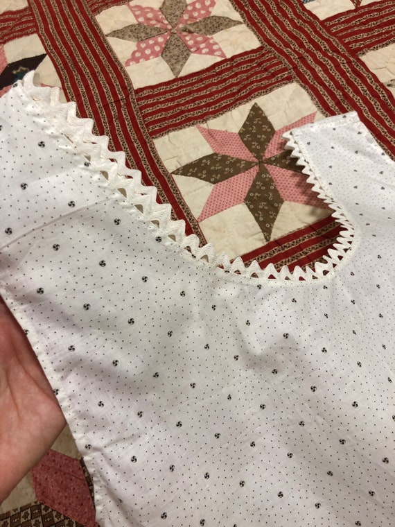 Antique Early 1900's | 1930's Calico Cotton White… - image 4