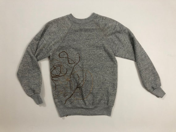 Vintage 1980s Embroidered Heather Gray Thin Sweats