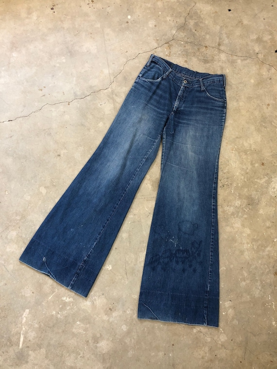 30 x 34 Vintage 1970s Bell Bottom Distressed & Rep