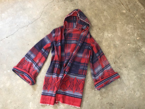 Vintage 1960's Beacon Camp Blanket Reworked Hooded