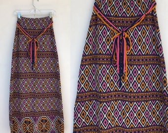 Vintage 60s Psychedelic Knit Maxi Skirt M