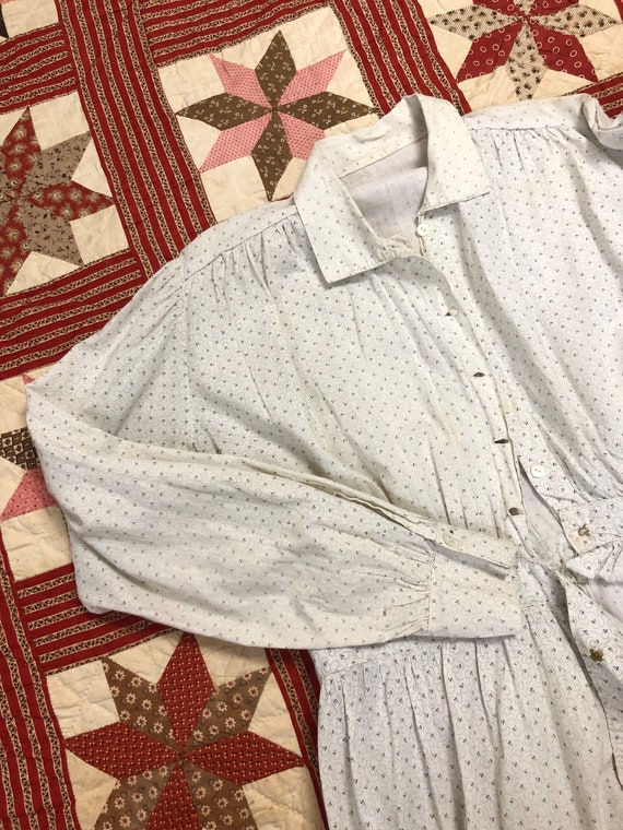 Early 1900's Antique Cotton Calico White Work Wea… - image 2