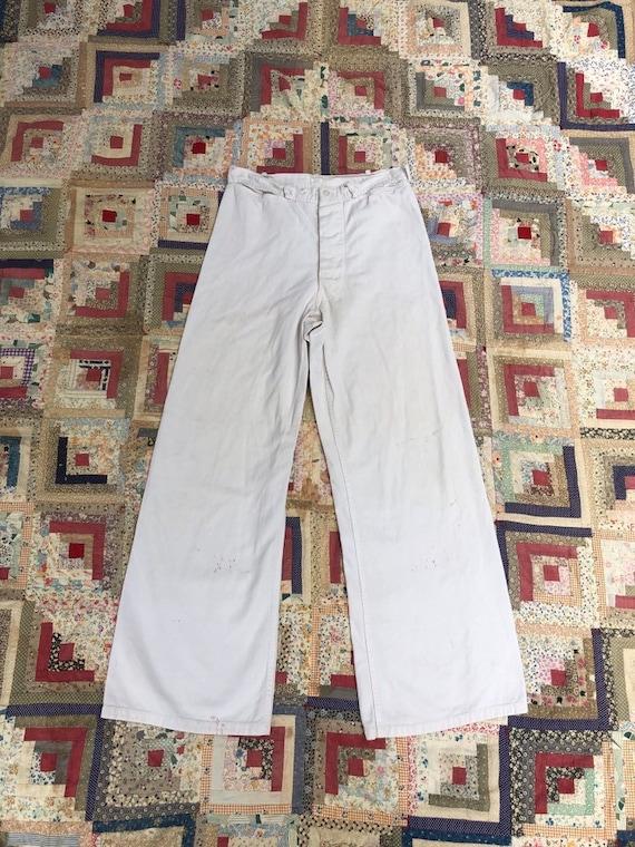30x30 Vintage 40s White Cotton Wide Leg Sailor Pan