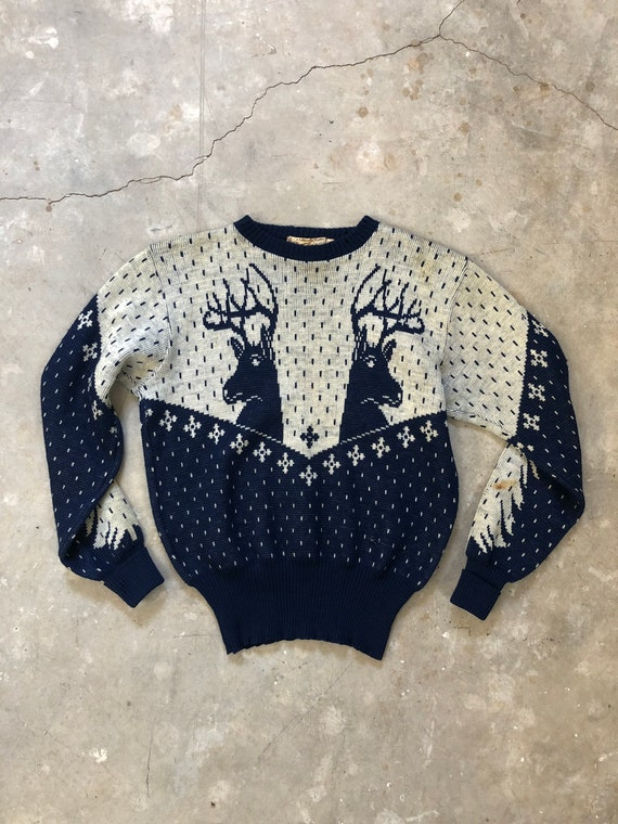 Vintage 1940s Catalina Reindeer Wool Knit Sweater
