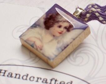 Angel Scrabble Necklace, Winged Angel, Handmade Scrabble Art Pendant, Upcycled Wood Tile, Angel Charm, Rickrack Ribbon, Angel Lover Gift