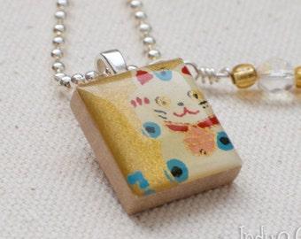 Lucky Cat Scrabble Necklace, Handmade Scrabble Tile Pendant, Maneki Neko, Japanese Lucky Charm, Wire Wrapped Bead Dangle, Cat Lover Gift