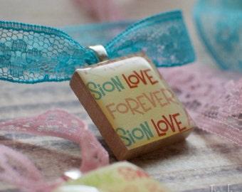 Word Art Scrabble Necklace, Handmade Scrabble Tile Pendant, Wood Tile Pendant, Vintage Look, Lace Ribbon, Love Words No.4 LOVE FOREVER