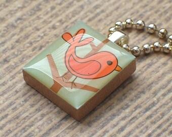 CORAL Bird Scrabble Necklace, Handmade Bird Scrabble Tile Art Pendant, Spring Bird Wood Pendant, Charm, Woodland Creature,  Bird Lover Gift
