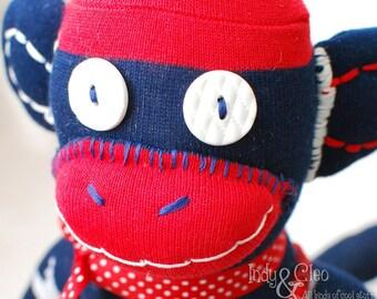 Handmade Sock Monkey Doll, Plushie, Stuffed Animal Toy, Art Doll, Red White Stars Blue, Home/Desk Decor, Shelfie, Monkey Lover Gift, SAMMY