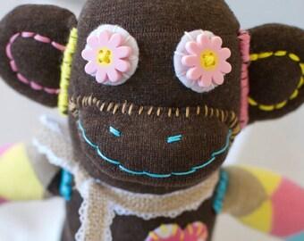 Handmade Sock Monkey Doll, Stuffed Animal, Plushie, Sock Monkey Toy, Art Doll, Home Decor, Desk Decor, Shelfie, Monkey Lover Gift, PENELOPE