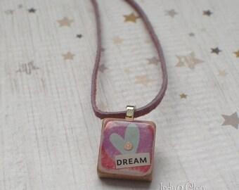 Heart Collage Scrabble Necklace, Handmade Scrabble Tile Pendant, Wood Pendant, Tiny Jewelry, Heart Lover Gift, Swarovski Bling, DREAM