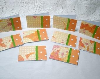 7376: Set of 10 Mini  Note Cards, Blank inside