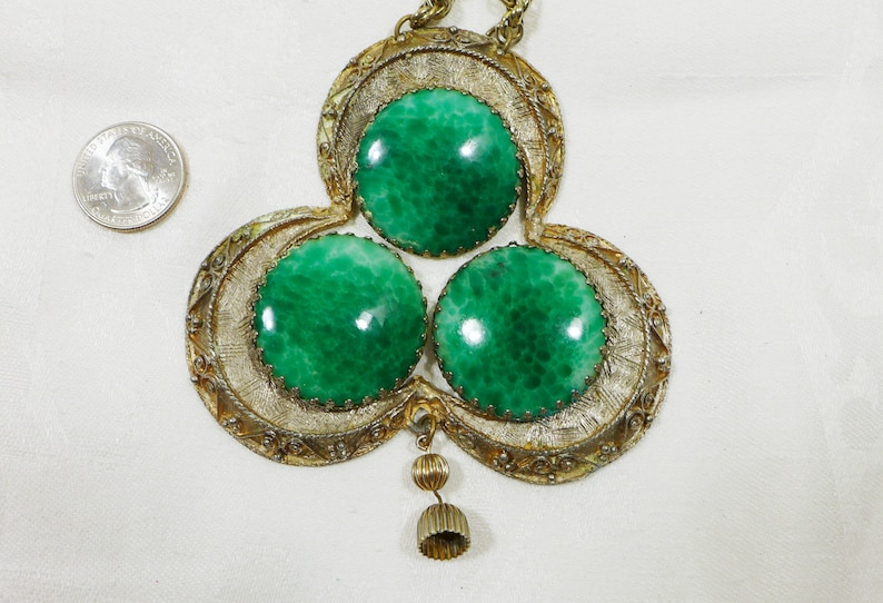 Huge Pendant Necklace Green Art Glass Gold Dangle Rope Chain