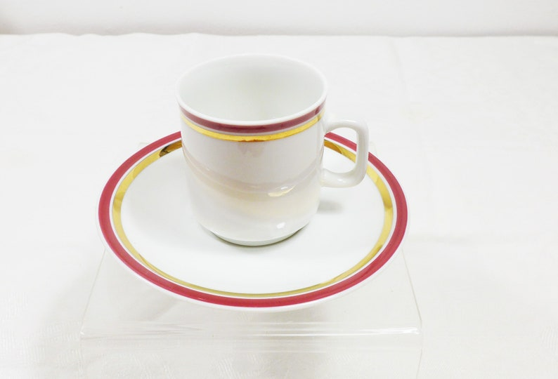 Demitasse Cup and Saucer Bavarian China White Burgundy Gold Stripe E/&R