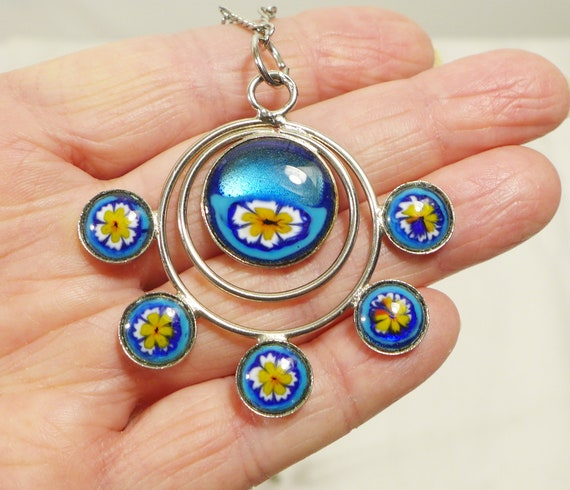 Flower Floral Necklace Pendant Flowers Pansy Mid C