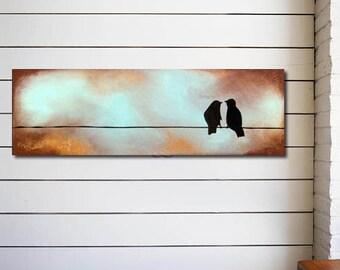 earthy art, original modern contemporary love birds acrylic PAINTING canvas, textured birds on a wire art - anniversary gift - 36 x 12